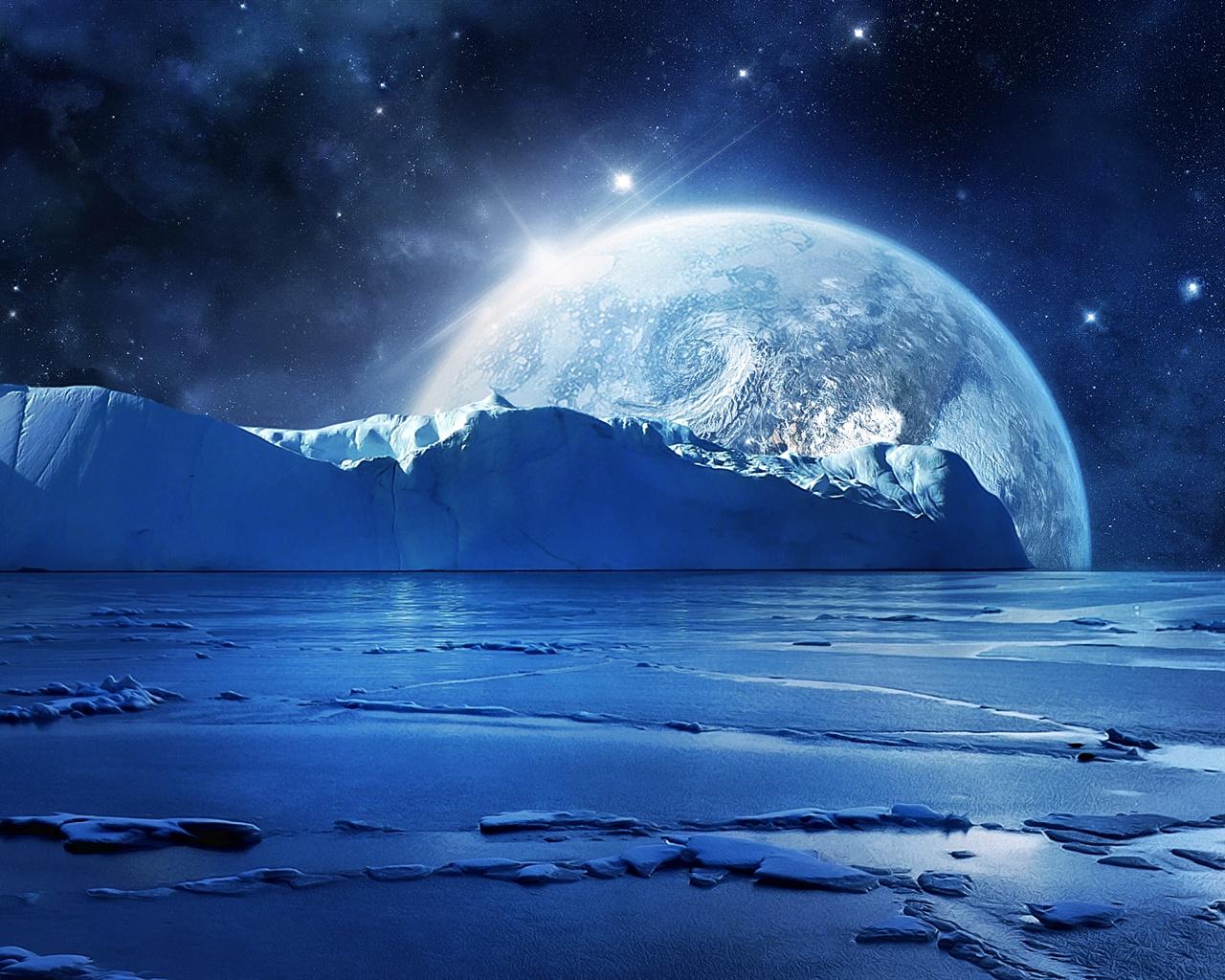 Fonds d'écran L'eau bleue de la glace de mer, nuit froide, les planètes et les étoiles 1920x1080 ...