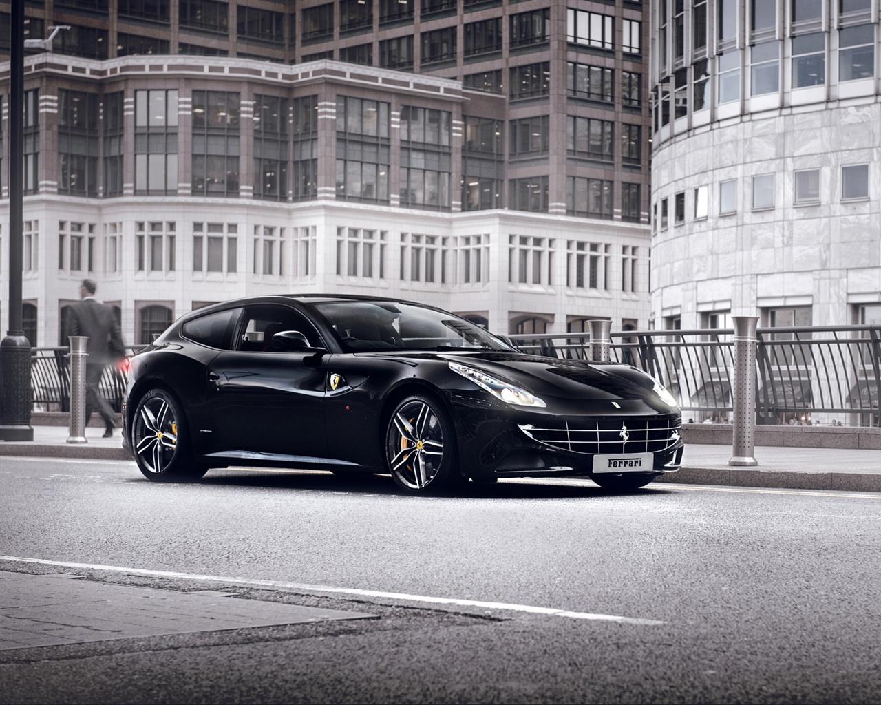 Ferrari Ff Black Supercar At City Street 640x1136 Iphone 5 5s 5c Se Wallpaper Background Picture Image