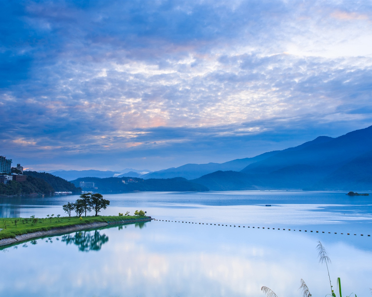 Morning sunrise mountains blue sky lake reflection wallpaper
