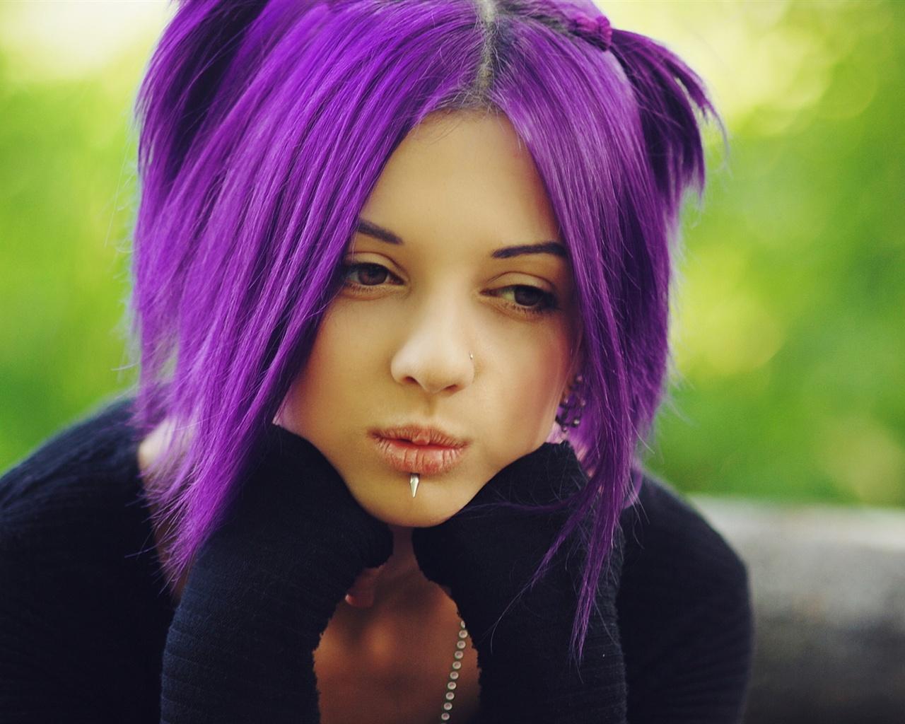 Девушки фиолетовые волосы обои 1280x1024