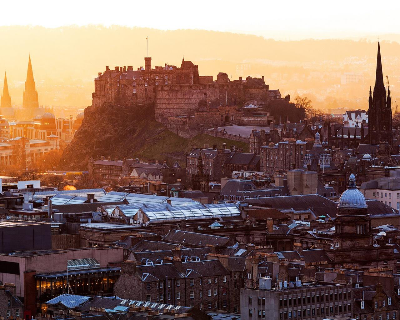 Обои Облака, эдинбург, Шотландия, свет, дома. Города foto 12