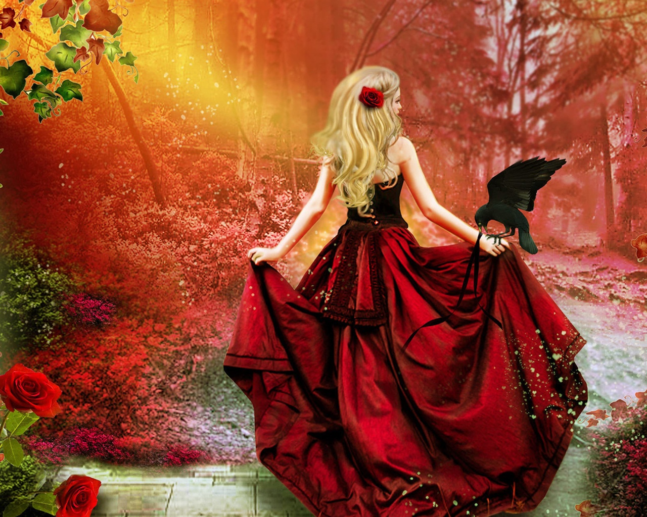 Art Fantasy Red Dress Girl Blonde Hair Crow Red Forest 640x960 Iphone 4 4s Wallpaper Background Picture Image