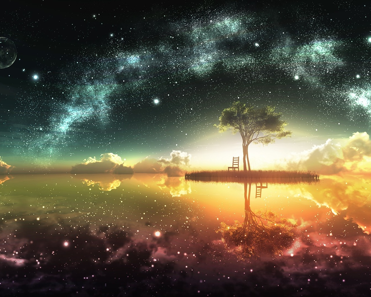 Beautiful Artwork Design Moon Island Chair Tree Stars Water