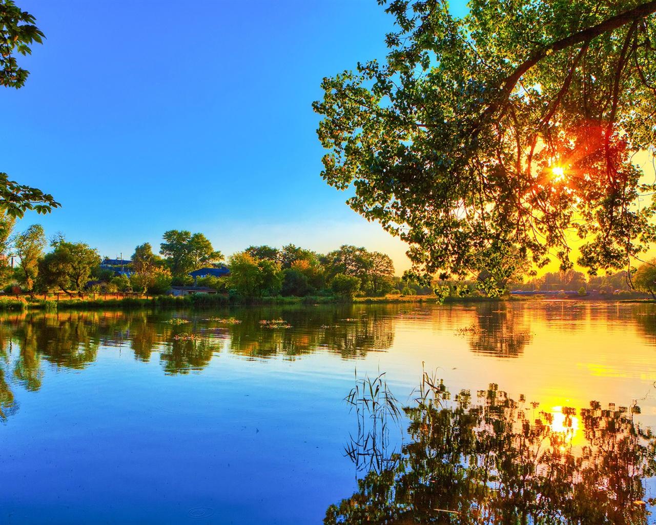 1280x1024 spring wallpaper: Download Wallpaper 1280x1024 Spring Sunset, Lake Water