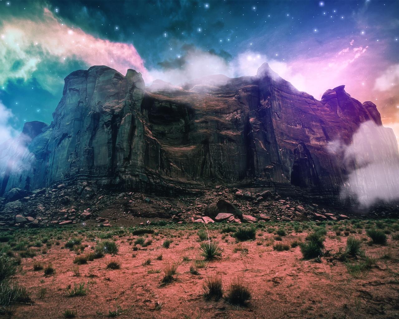 Paysage d 39 imagination cr atif montagne falaise nuages for Paysage espace