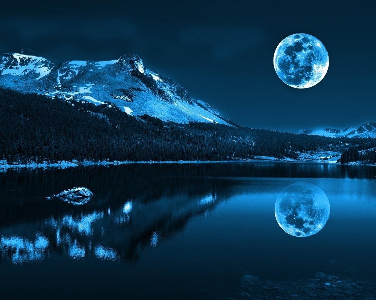 Mond, See, Berge, Kalte Nacht, Natur Landschaft 1920x1080