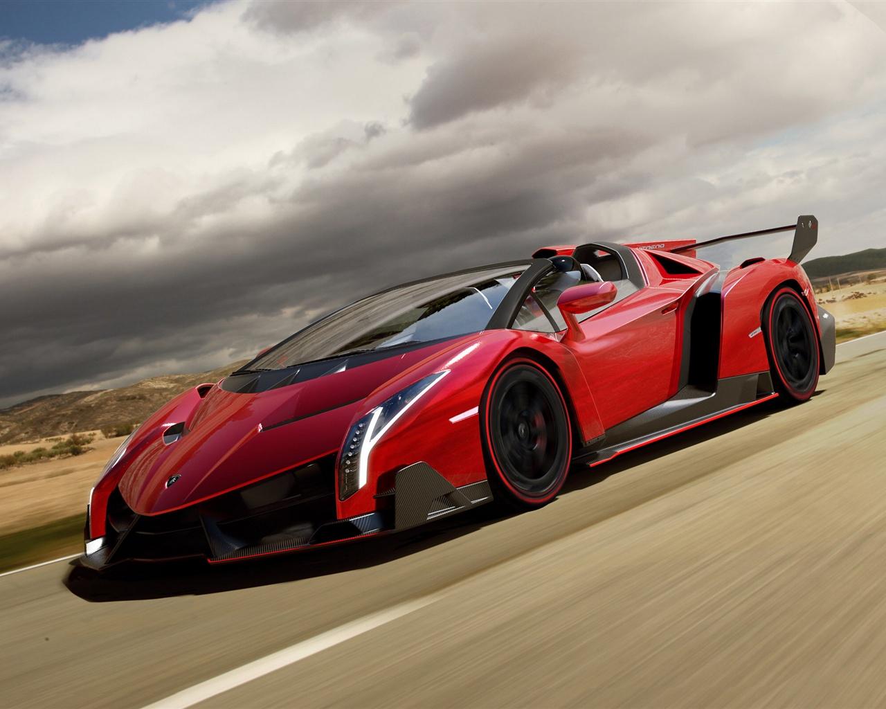 Wallpaper Red Lamborghini Veneno Roadster Supercar In Road 2560x1600