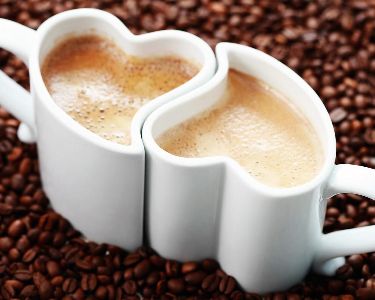 Wallpaper Love Heart Mugs Cappuccino Coffee Coffee