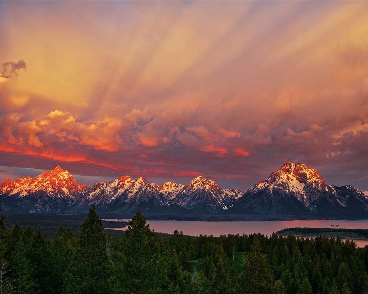 怀俄明州大提顿国家公园,日出,山,红色的天空,湖 壁纸 | 1280x1024 壁纸下载 | CN.Best ...