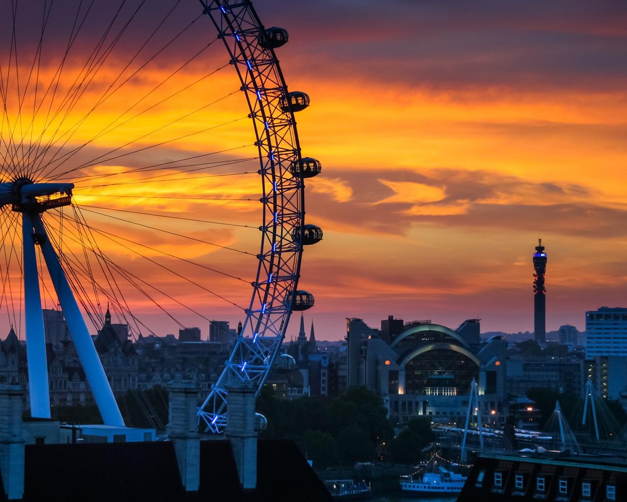 Wallpaper London England Ferris Wheel Sunset City House 1920x1200 HD Picture Image