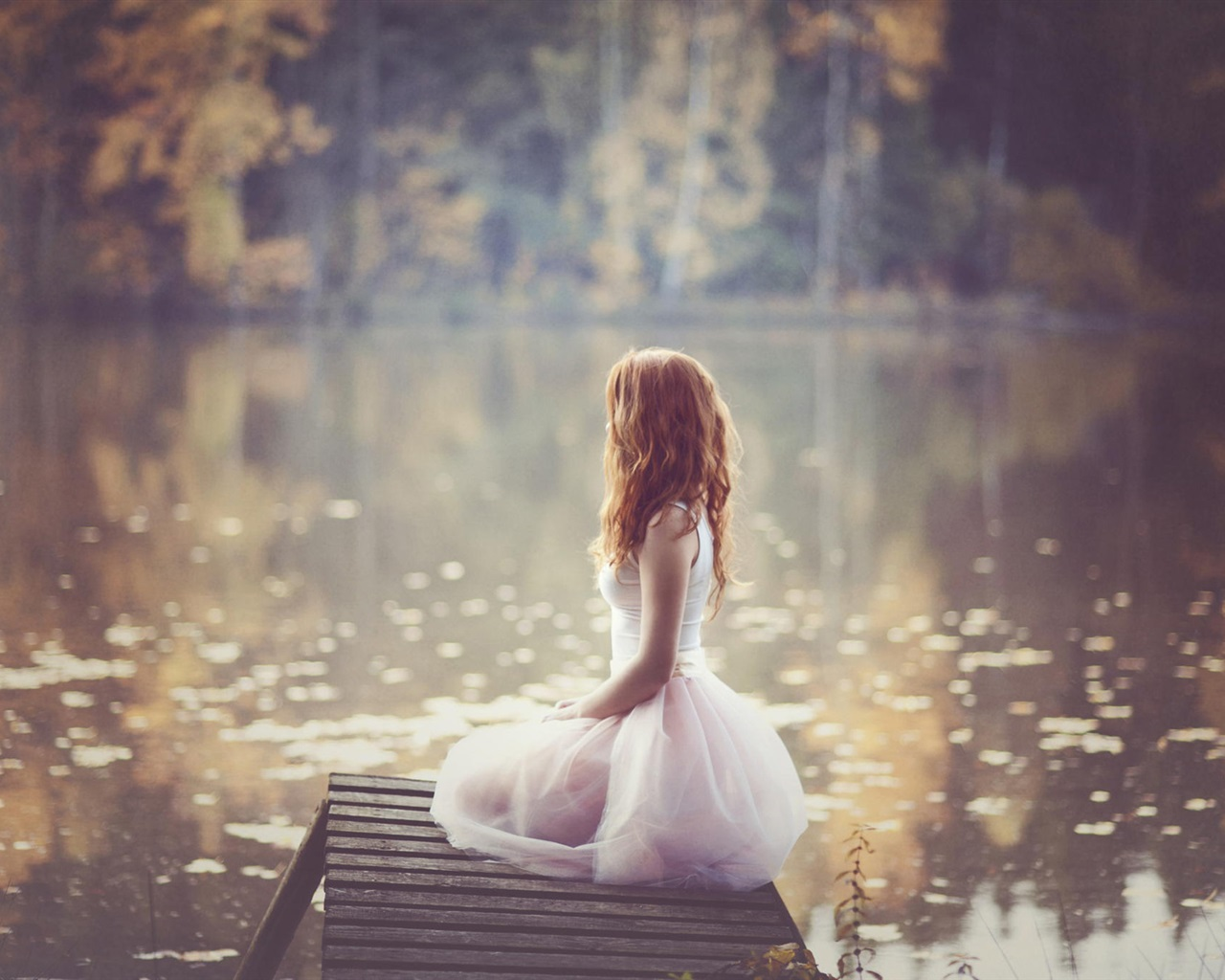 Lonely girl white dress lakeside 640x1136 iphone 5 5s 5c se wallpaper background picture image