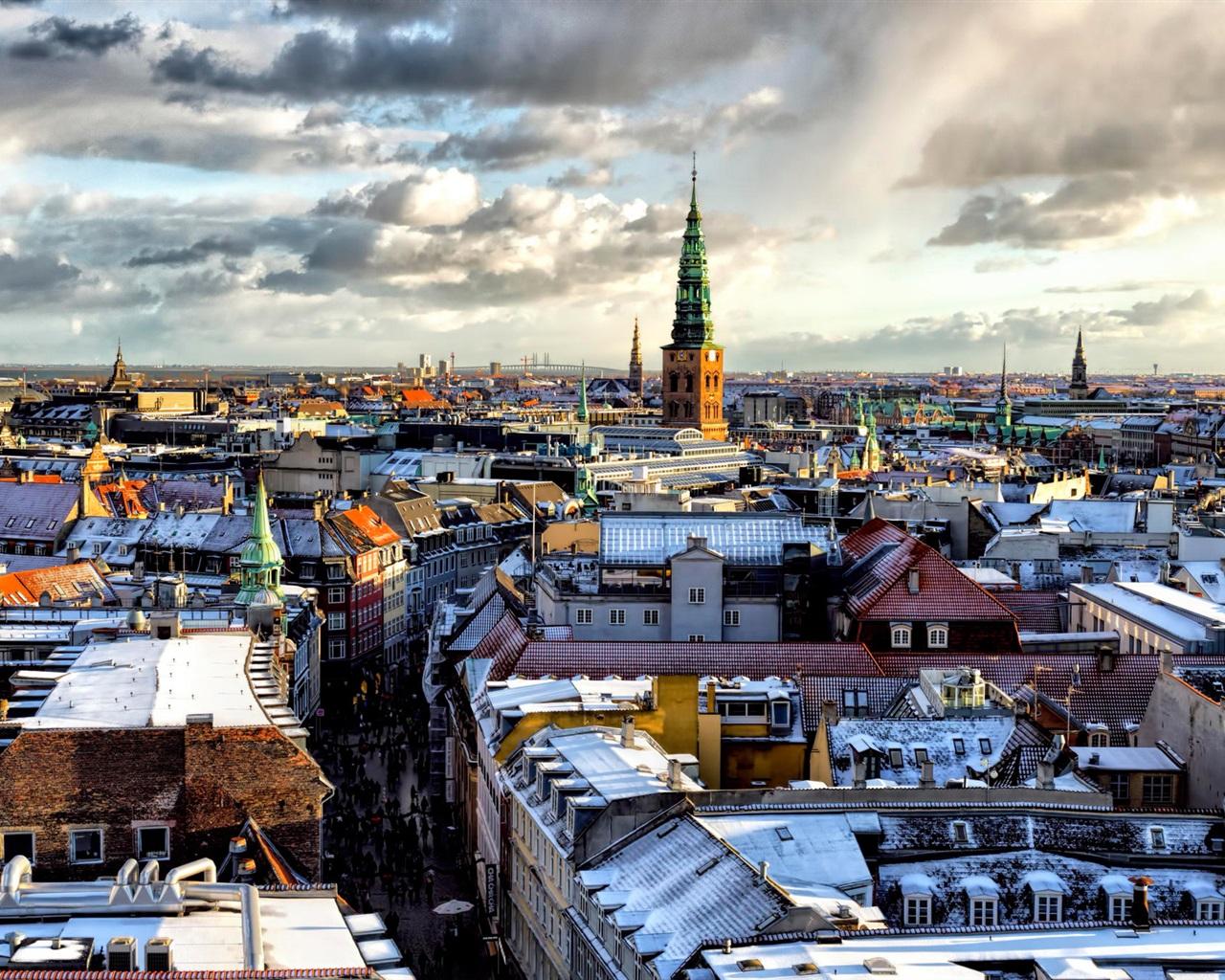 コペンハーゲン、都市、住宅、雪、雲 壁紙 - 1280x1024   コペンハーゲン、都市、住宅