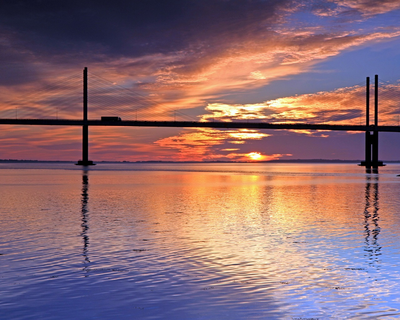 Download Wallpaper 1920x1080 River Sunset Bridge: Wallpaper Sunset, River, Bridge, Red Sky 1920x1200 HD