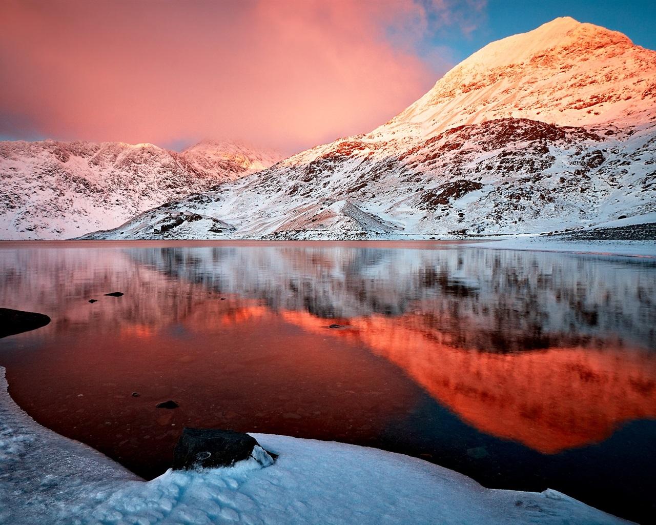 Fondos De Pantalla Montaña, Nieve, Invierno, Lago