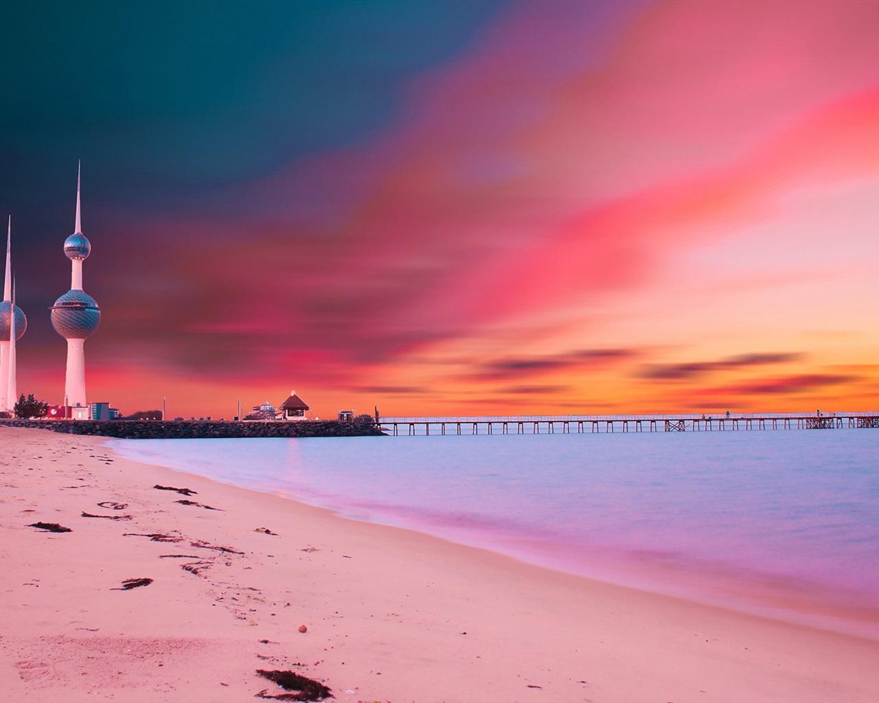Download wallpaper 1280x1024 kuwait towers sunset bridge for Home wallpaper kuwait