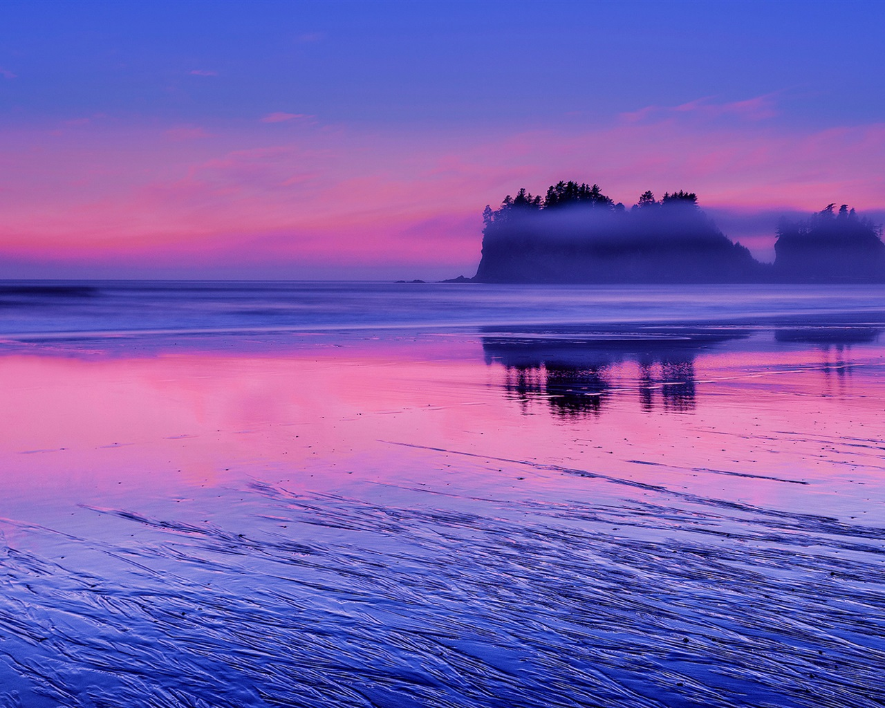 USA, Washington, Pacific ocean, sea water, pink sunset ... Pacific Ocean Water