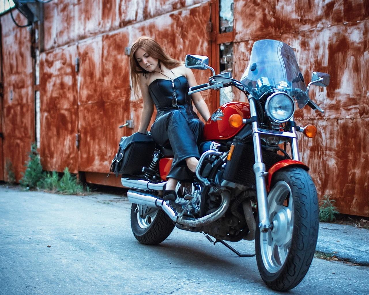 Wallpaper Motorcycle Street Girl 1920x1080 Full Hd 2k