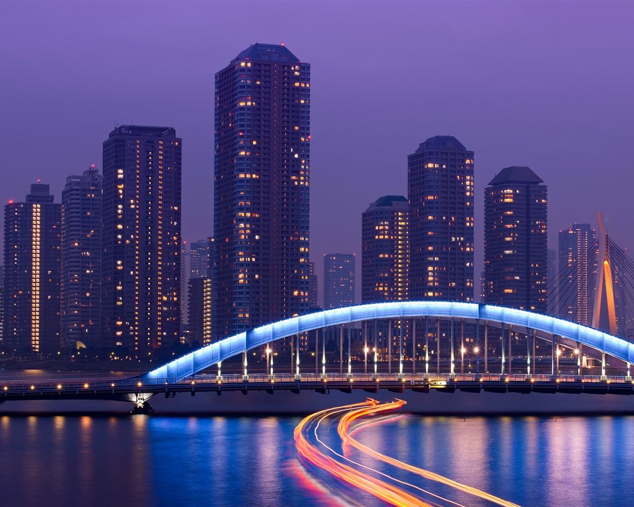 東京、日本、大都市、高層ビル、夜、ライト、橋、川... 東京、日本、大都市、高層ビル、夜、ライト
