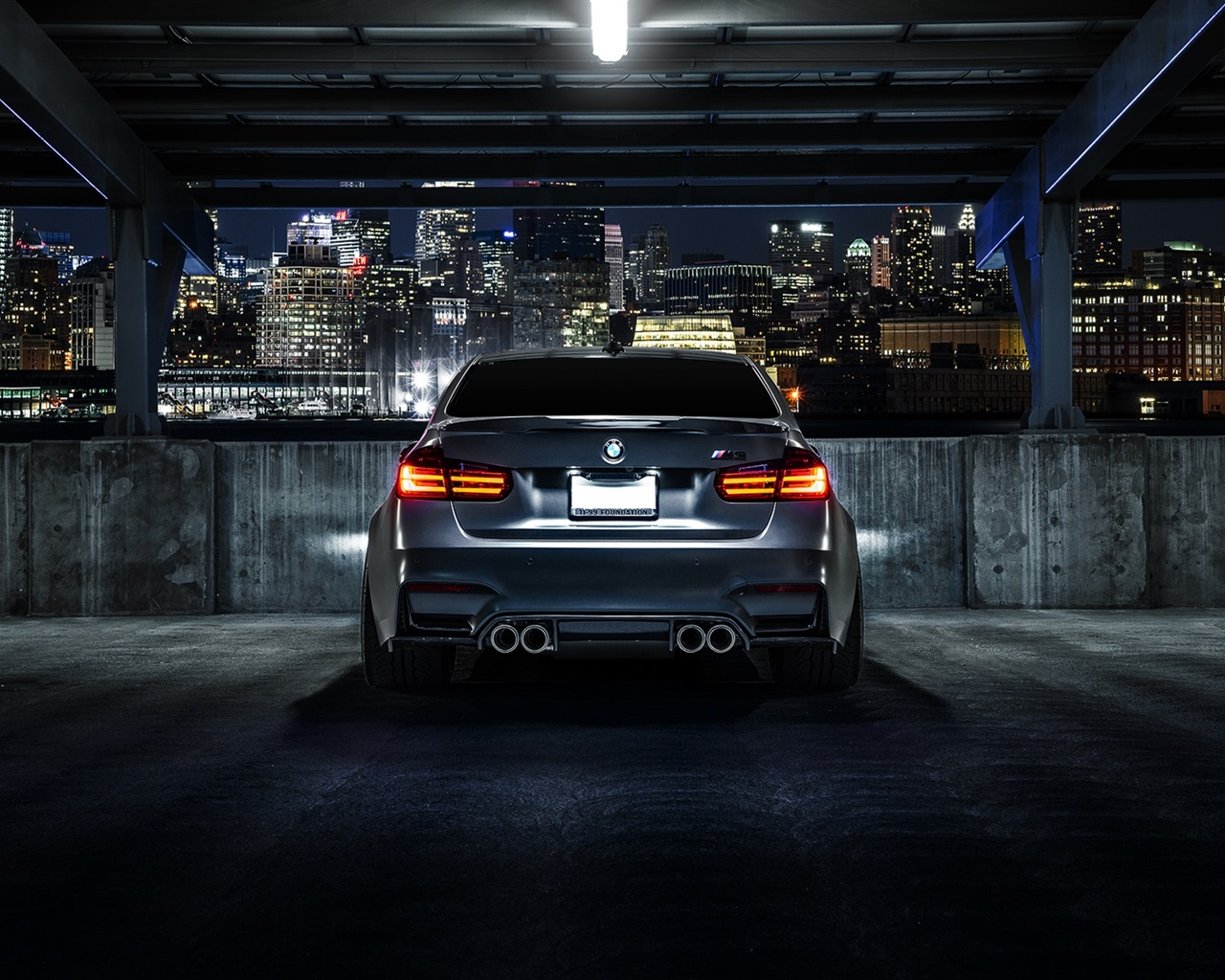 Wallpaper Bmw M3 F80 Matte Black Car Rear View Night