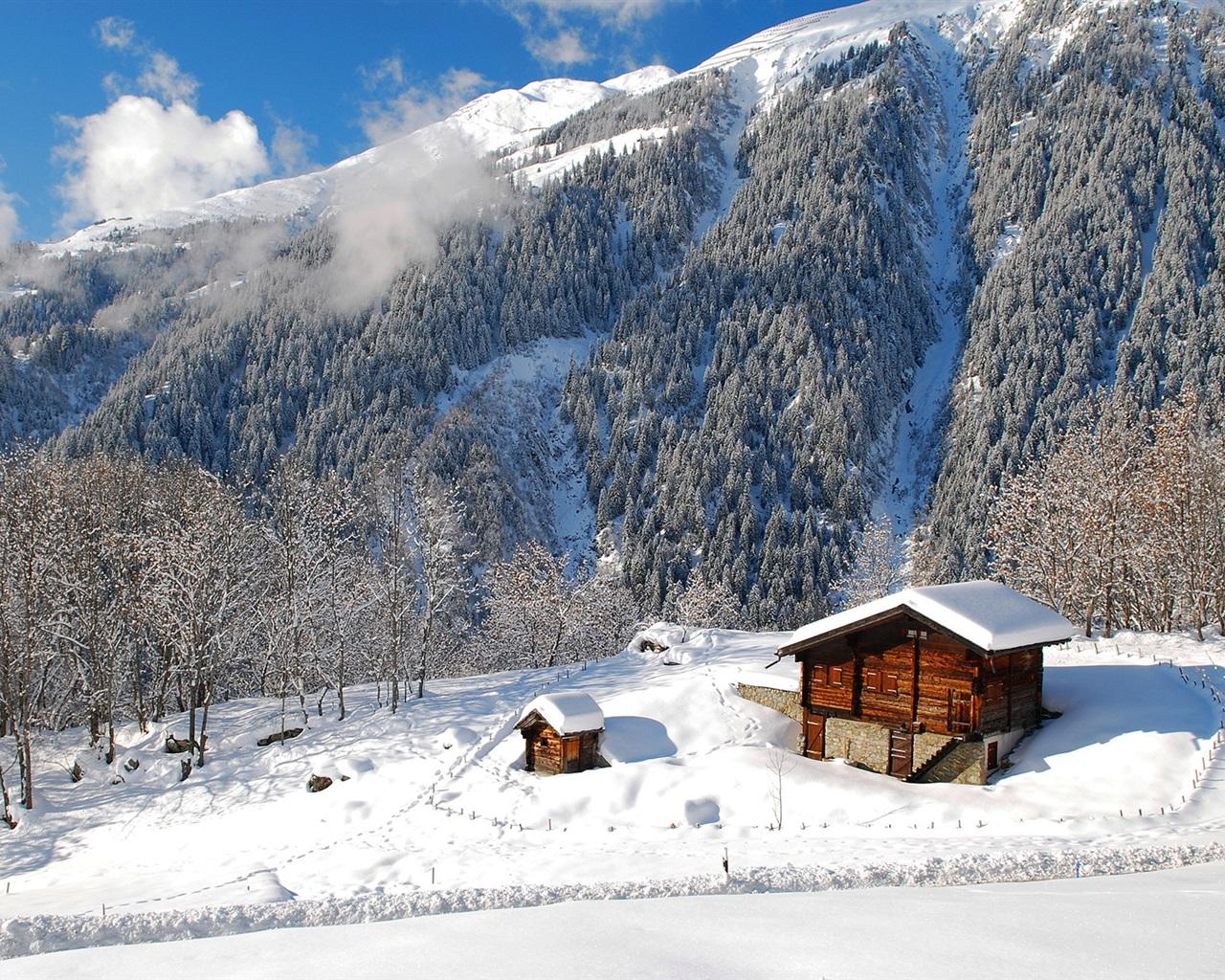 Nature paysage, hiver, forêt, arbres, maisons, montagnes, neige Fonds ...