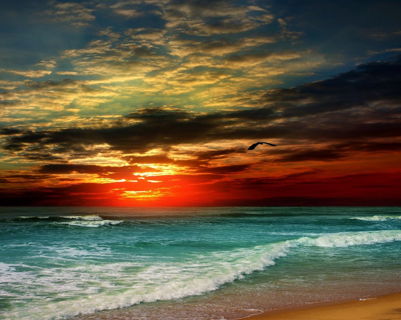 Fonds d'écran Coucher de soleil, plage, mer, vagues ...