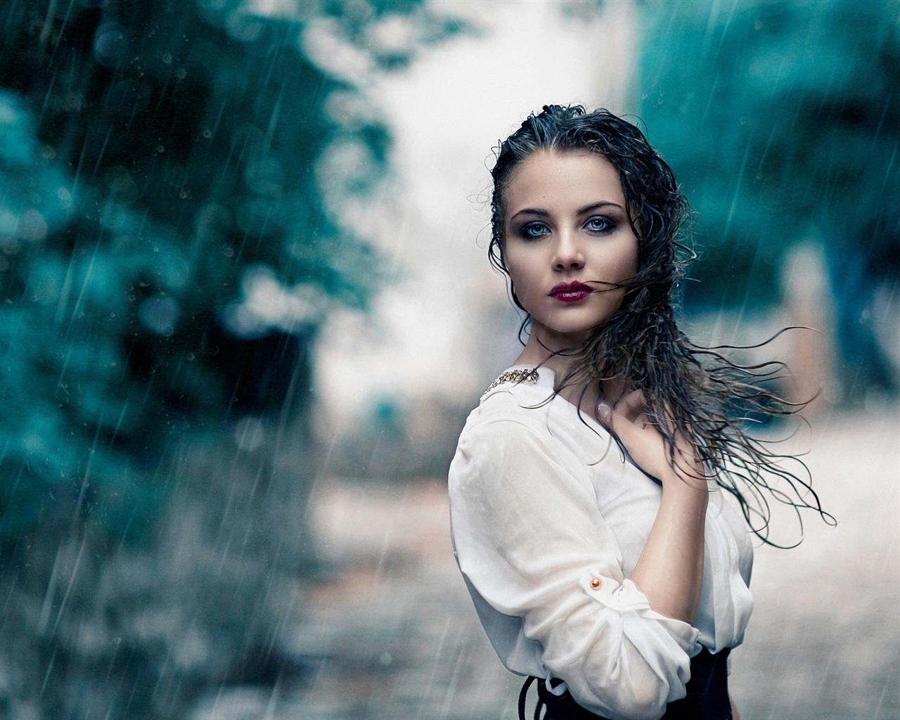 Wallpaper White Dress Girl In Rain, Wet 1920x1200 HD
