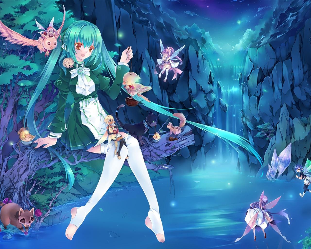 2560x1600 hd - Anime blue girl wallpaper ...