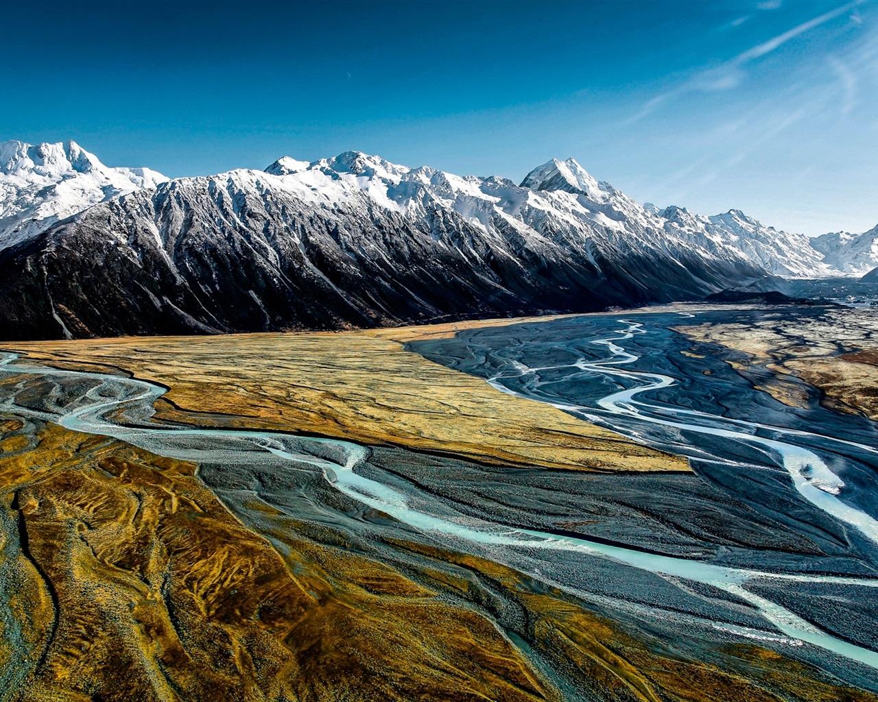 배경 화면 후커 밸리, 아오 라키 마운트 쿡, 뉴질랜드, 산, 강 1920x1200 HD 그림, 이미지