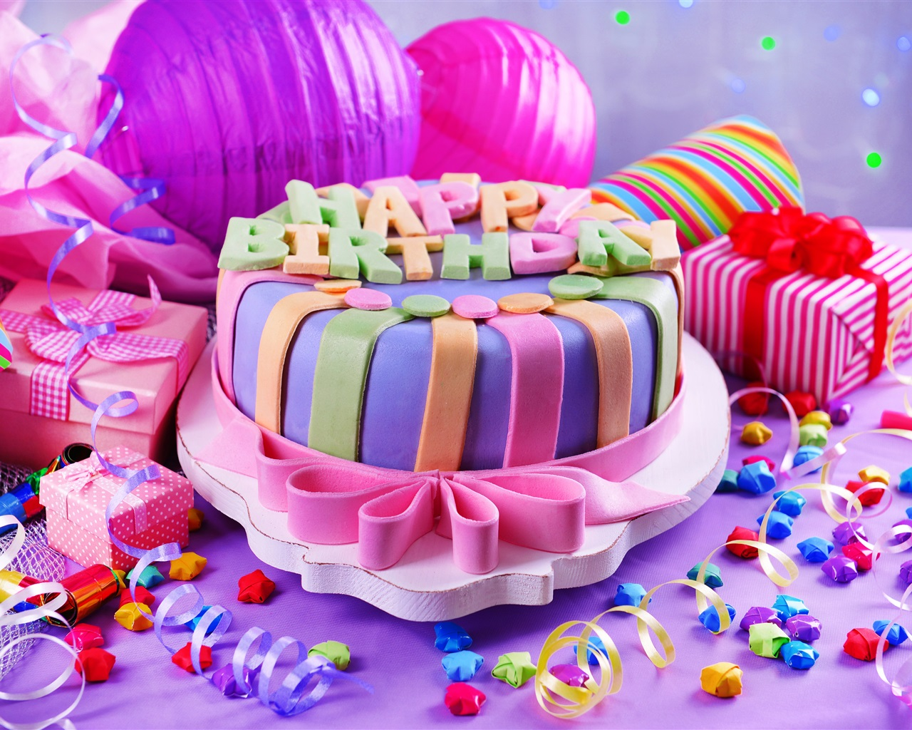 Wallpaper Happy Birthday Sweet Cake Gifts Decoration