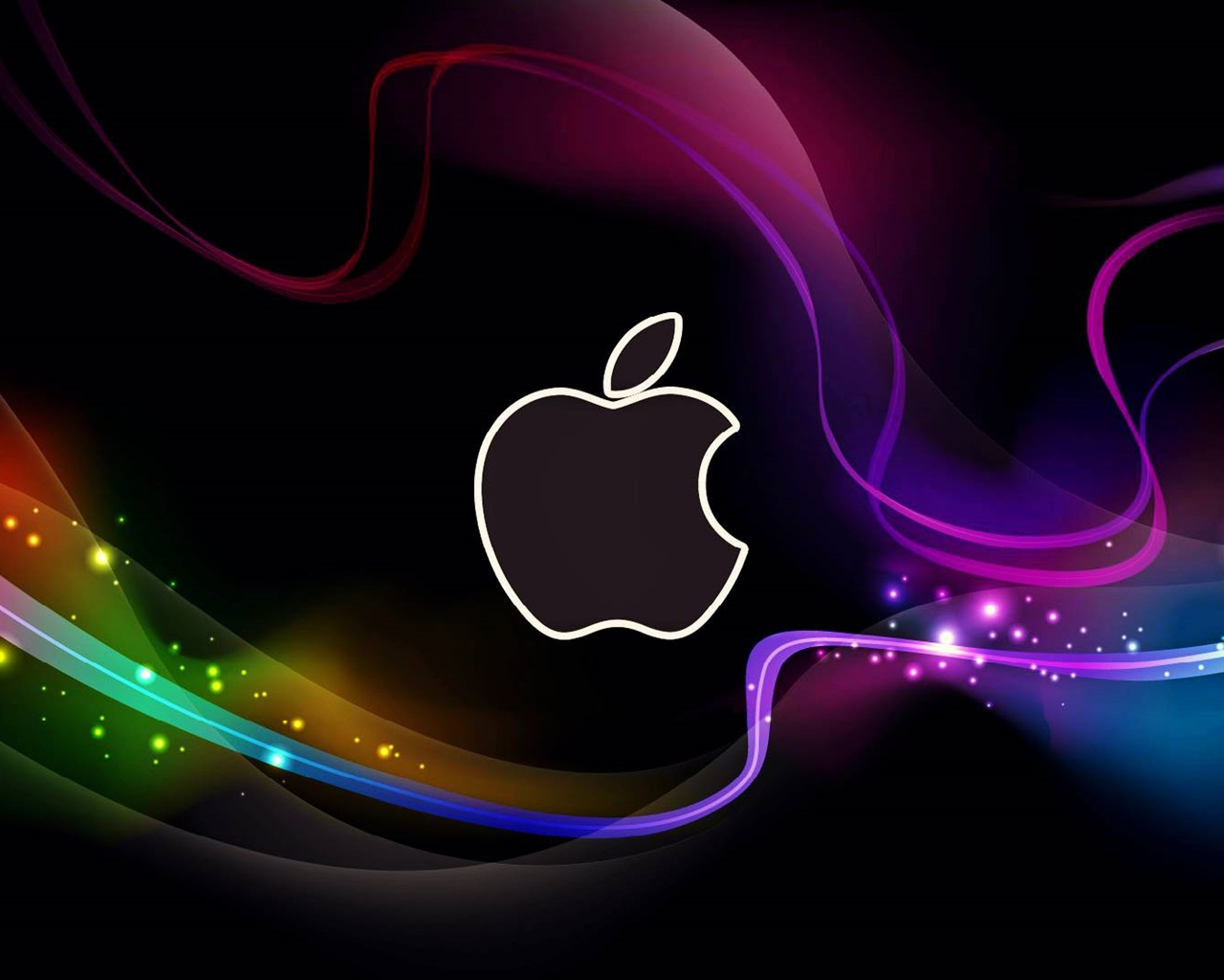 Wallpaper Abstract Apple logo, colorful lines 1920x1080 ...