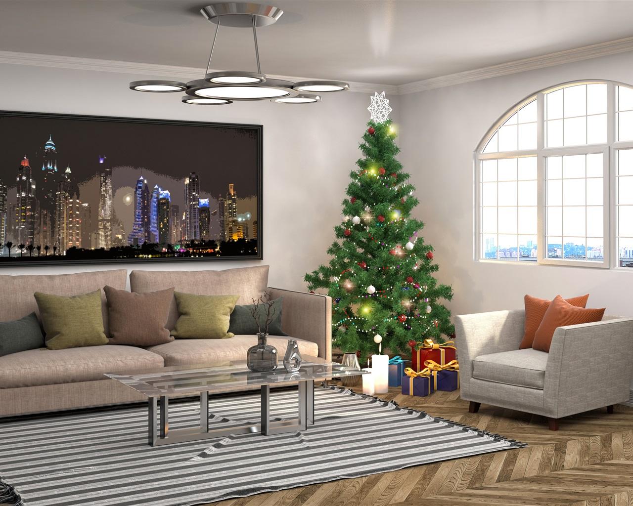 Wallpaper Interior design, Christmas tree, pillow, sofa ...