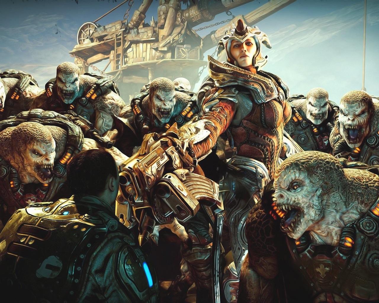 Gears Of War, Girl And Monsters Wallpaper