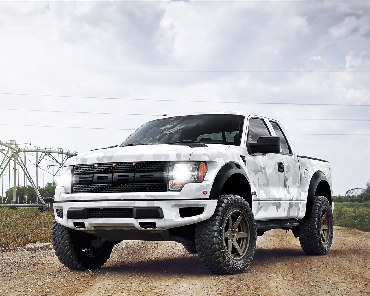 Ford Raptor white camouflage pickup Wallpaper