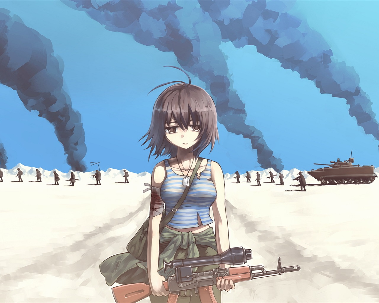 Fondos De Pantalla Chica Triste, Ejército, Guerra, Animado