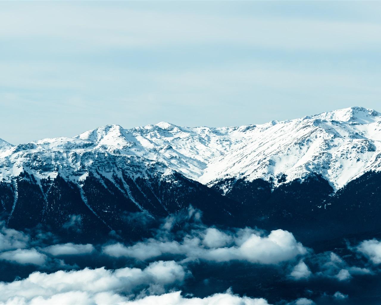Fondo Escritorio Picos Montañas Nevadas: Fondos De Pantalla Montañas, Nieve, Picos, Niebla