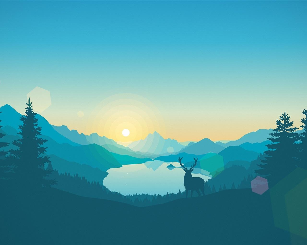 Wallpaper Vector design, landscape, mountains, lake, trees ...