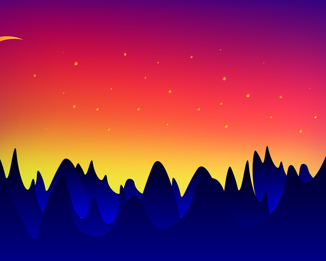 壁紙 ベクターデザイン 山 月 夕暮れ 3840x2160 Uhd 4k 無料のデスクトップの背景 画像