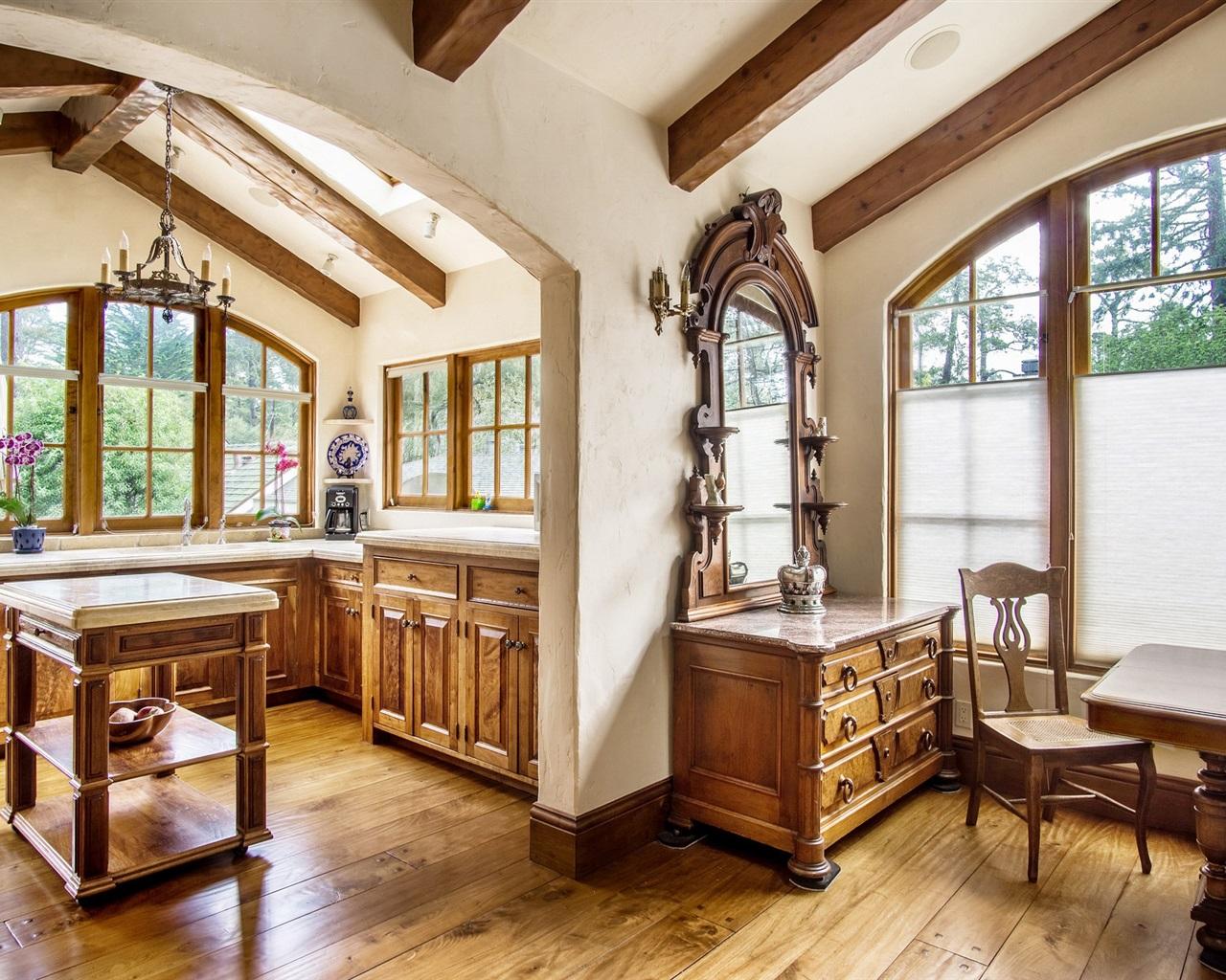 Download Wallpaper 1280x1024 Kitchen, Furniture, Windows