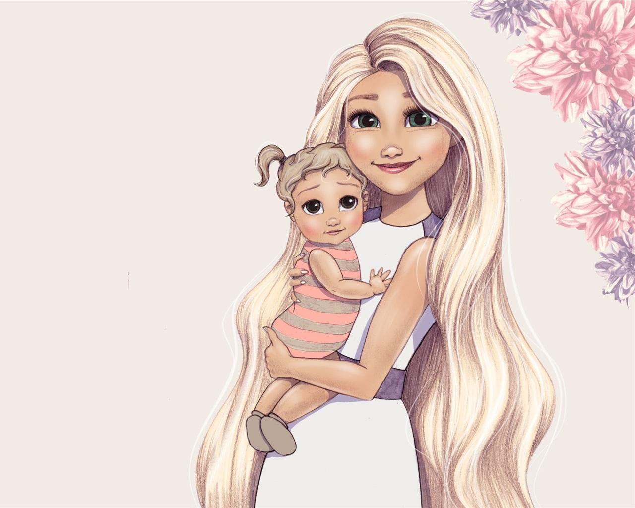 Fonds D Ecran Dessin D Art Fille Yeux Verts Et Bebe