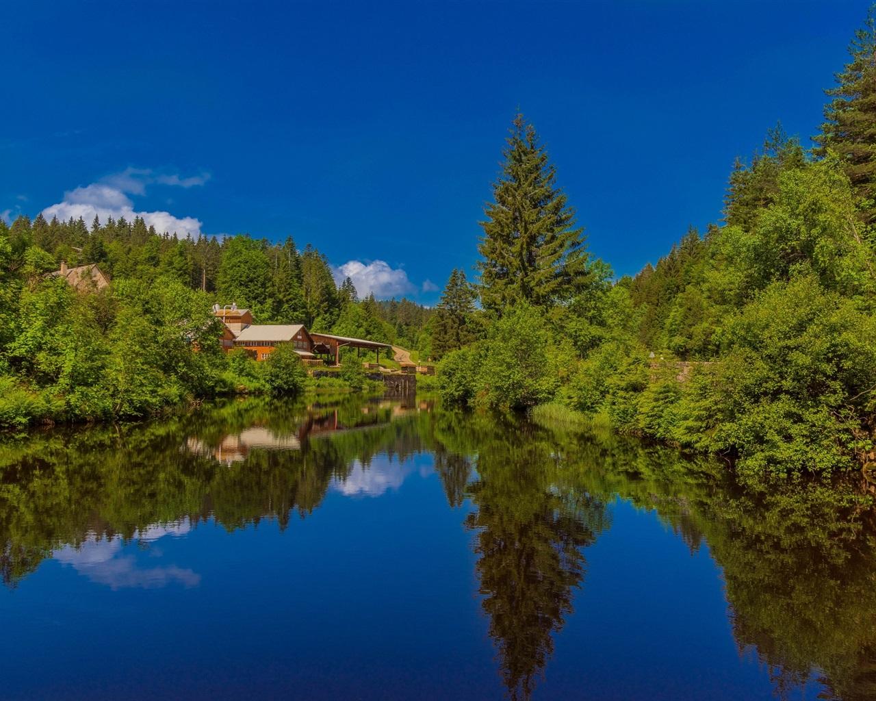 Wallpaper Black Forest, Lake, Houses, Germany, Baden