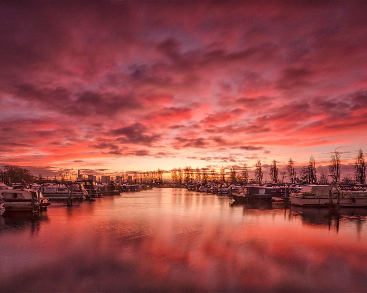 壁紙 イギリス、ダービーシャー、港、川、ボート、雲、日没 1920x1200 HD 無料のデスクトップの背景, 画像