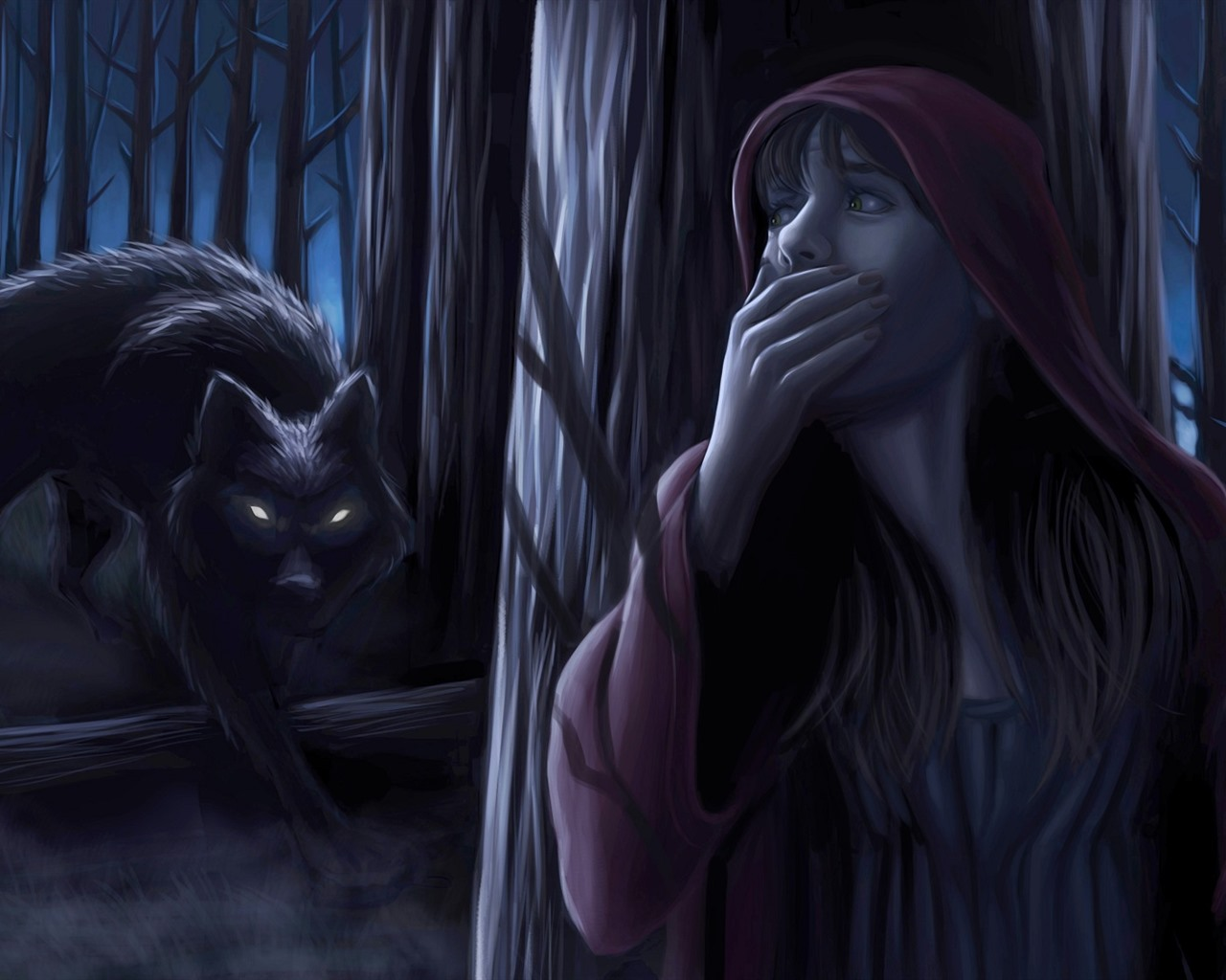 Wallpaper Little Red Riding Hood Girl Wolf Night Forest Art