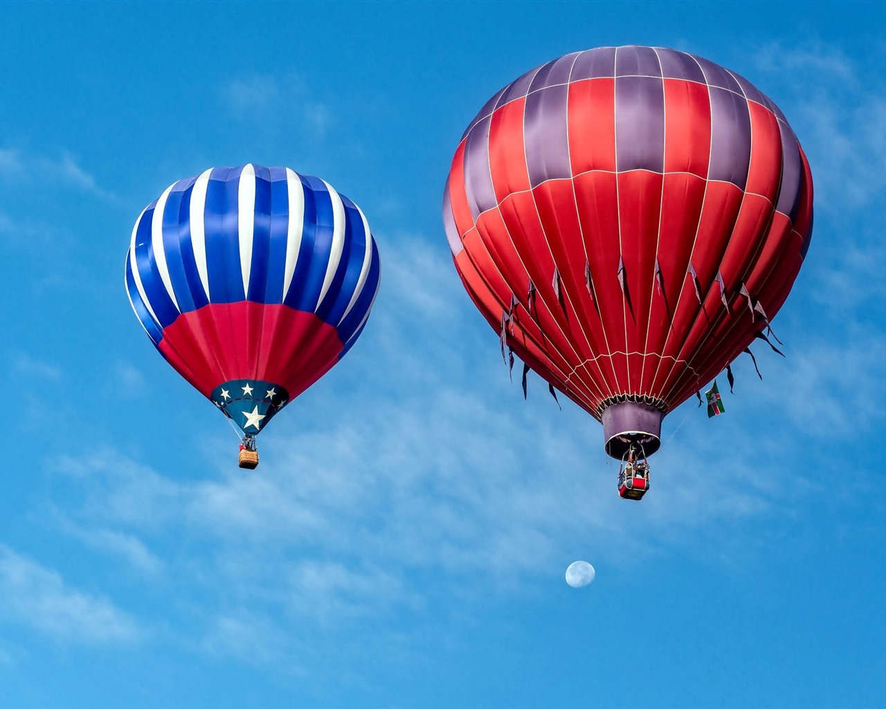 Wallpaper Two Hot Air Balloon Blue Sky Clouds 1920x1200 Hd Picture Image