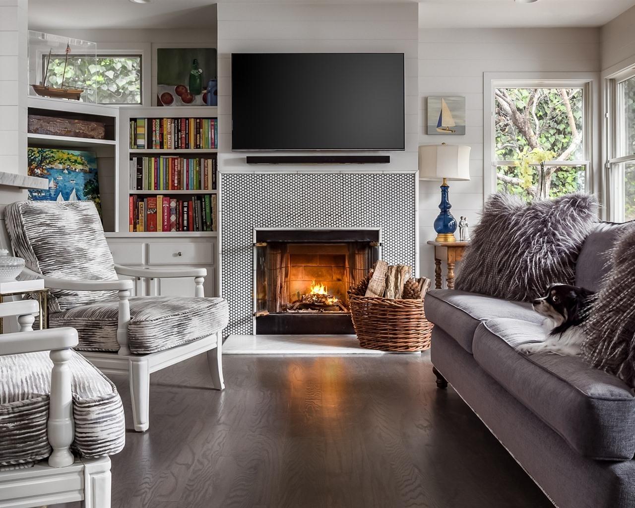 Wallpaper Living room, sofa, chairs, dog, fireplace