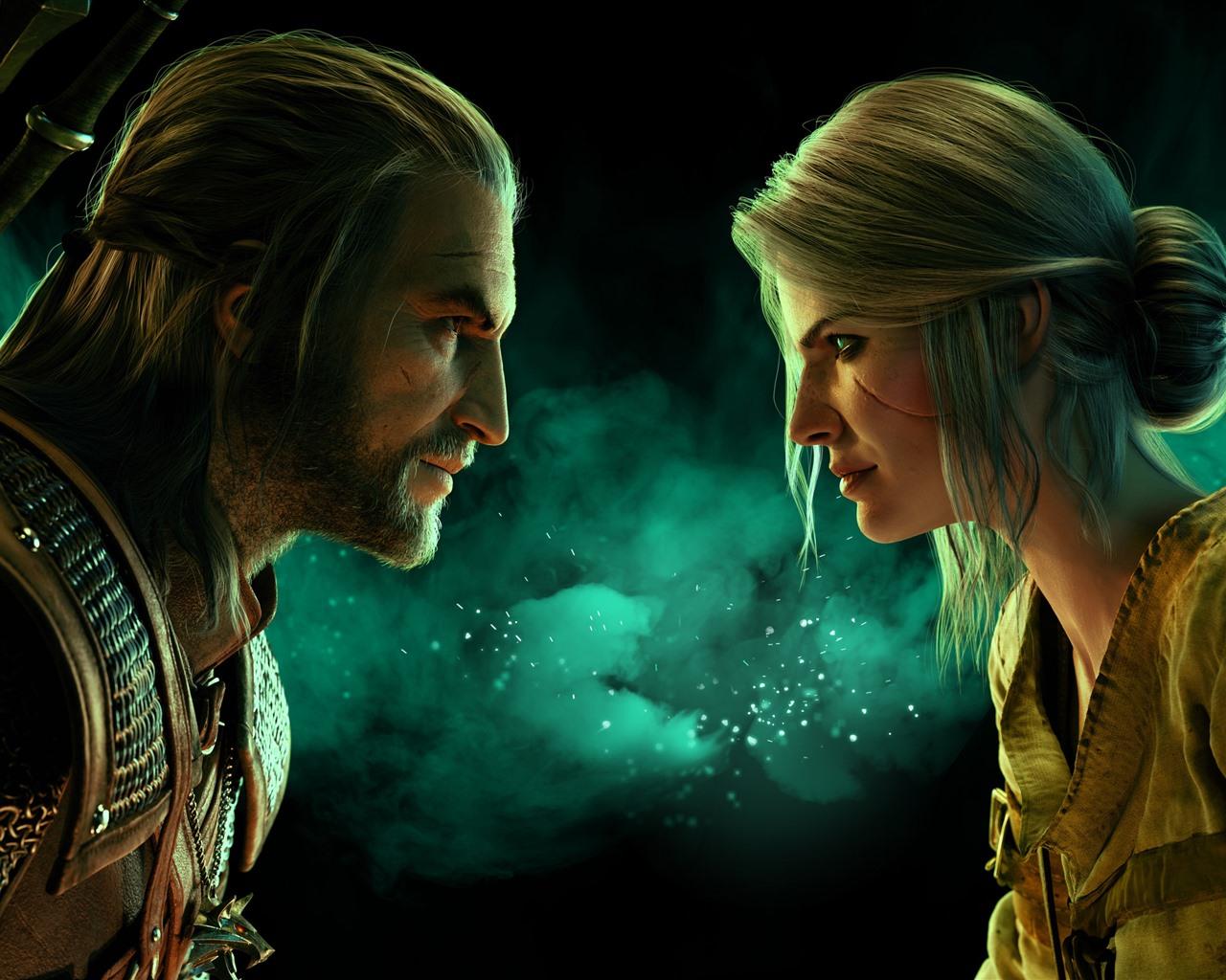Fond d'écran The Witcher 3 Wild Hunt, homme et femme, Face à-8988