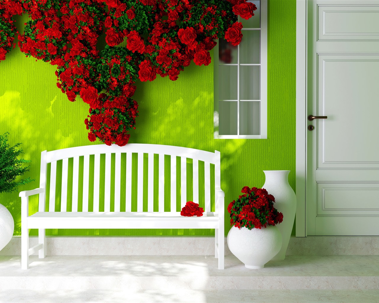 Bench Green Wall Red Roses House Door 1080x1920 Iphone