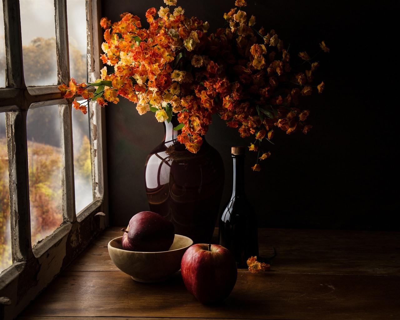 Wallpaper Bouquet, Flowers, Vase, Bottle, Window 1920x1200
