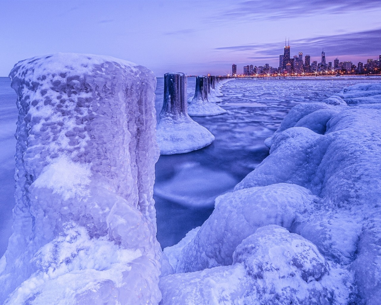 Chicago Sports Wallpaper Iphone 6s: Chicago, Snow, Ice, Sea, City, Winter 750x1334 IPhone 8/7