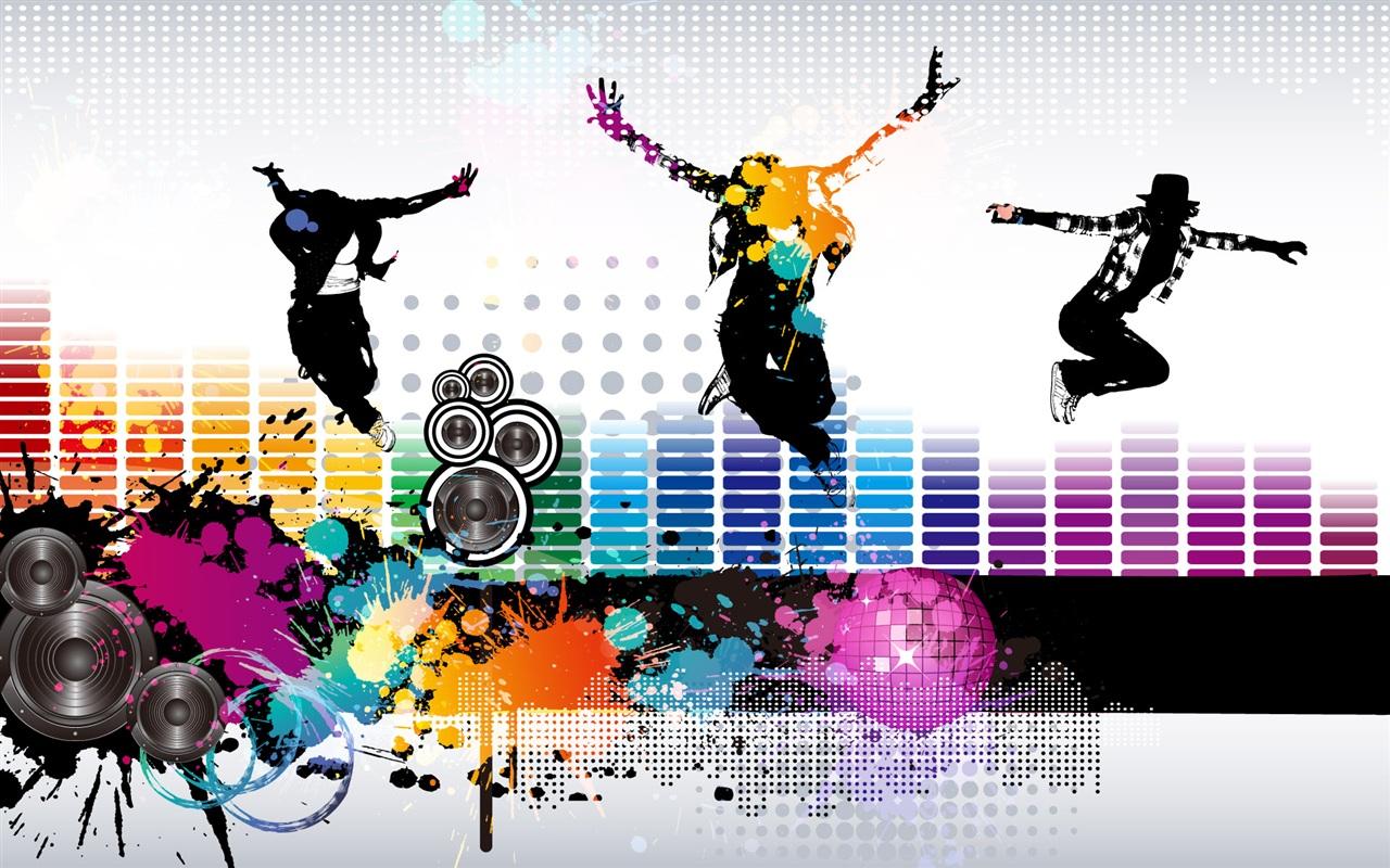 Música de colores vuelan vector fondos de pantalla 1280x800