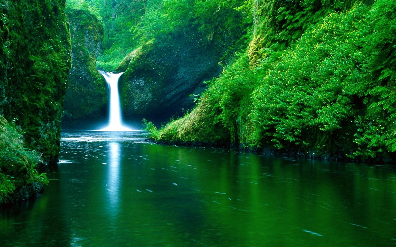wallpaper waterfall river green 1920x1080 full hd picture, image